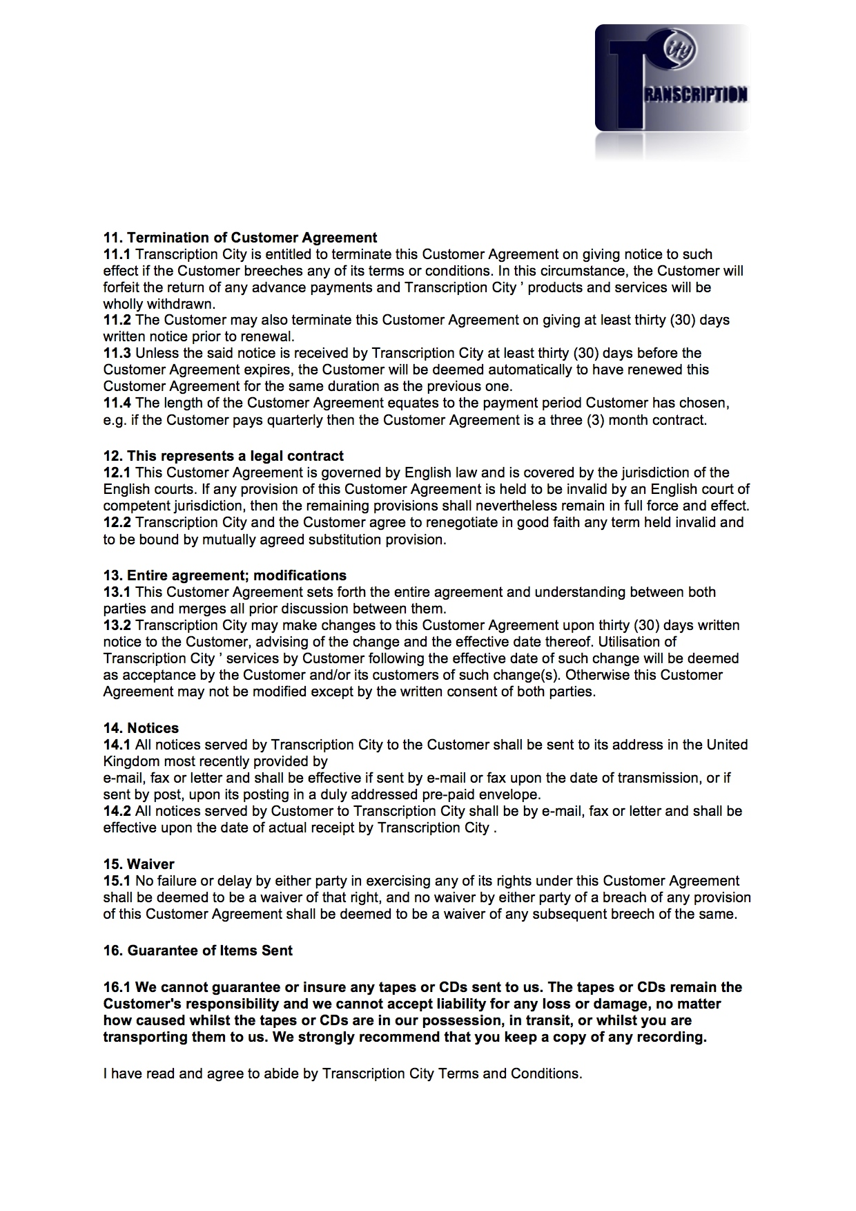 Terms and Conditions page 4